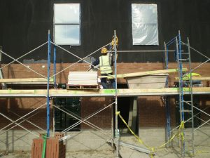 Scaffolding for bricklayers