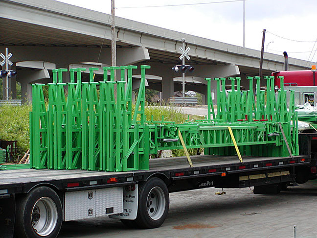 2 elevated scaffolding racks for delivery