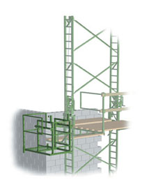 Access Landing for crank-up-scaffolding