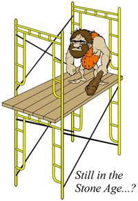 Caveman on old scaffold